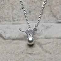 Collana in argento 925 con pendente gatto sulla sfera
