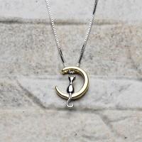 Collana in argento 925 placcato oro con pendente gatto sulla luna