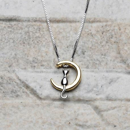 Collana in argento 925 placato oro con pendente gatto sulla luna