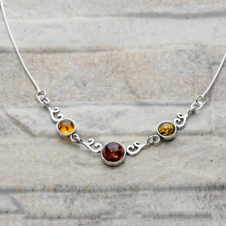 Collana donna in argento 925 con ambra da Mar Baltico