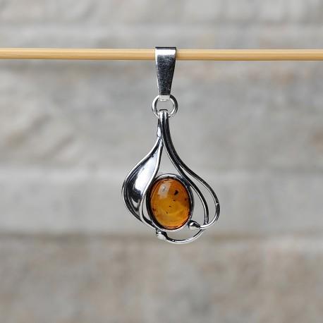 Pendente in argento 925 con ambra da Mar Baltico.