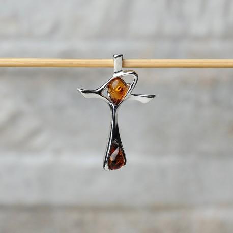 Pendente croce in argento 925 con ambra da Mar Baltico