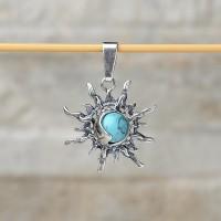 Pendente sole-luna in argento 925 con turchese