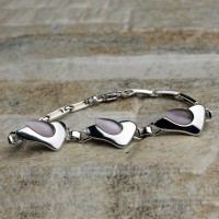 Bracciale donna in argento 925 con ulexite lilla