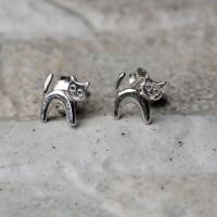 Orecchini a lobo gatto in argento 925