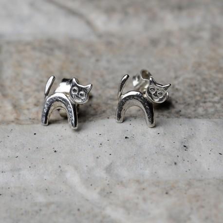 Orecchini con gatto in argento 925 chiusura a farfalla