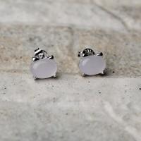 """Orecchini in argento 925 con cristallo rosa """"Orecchie di gatto"""""""