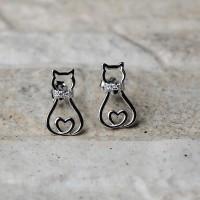 """Orecchini a lobo """"Gatto"""" in argento 925 con zirconi"""