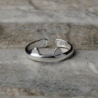 Anello regolabile in argento 925 con zampa e orecchie di gatto