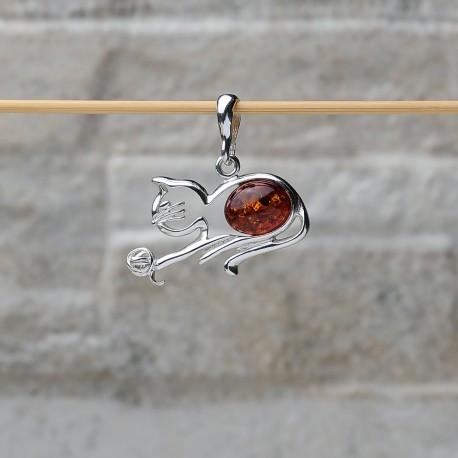 "Pendente ""Gatto con batufolo di lana"" in argento 925 con ambra"