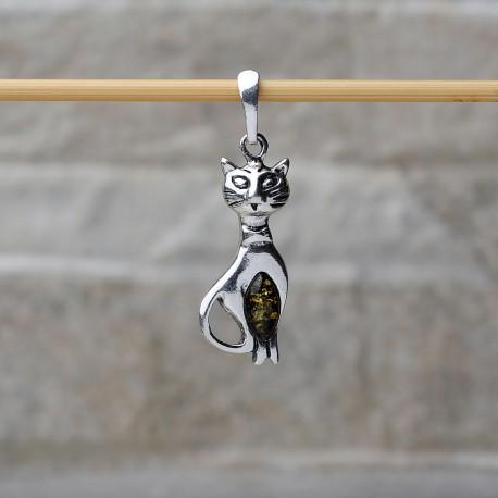 Pendente Gatto Elegante in argento 925 con pietre d'ambra