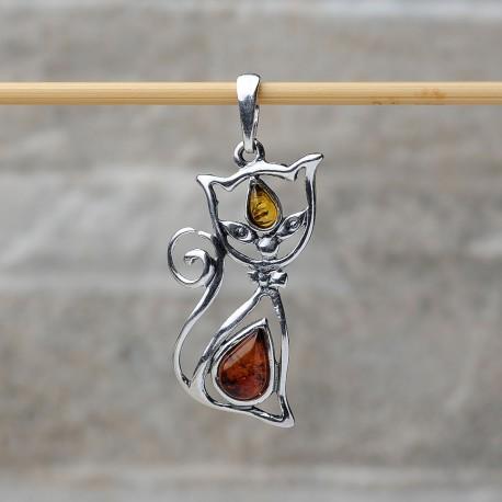 Pendente Gatto seduto in argento 925 con pietre d'ambra