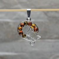 """Pendente """"Gatto"""" in argento 925 con Ambra da Mar Baltico"""