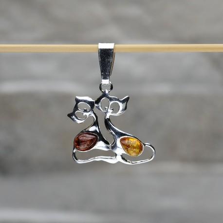 """Pendente """"Due gatti"""" in argento 925 con ambra da Mar Baltico"""
