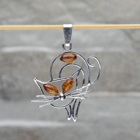 """Pendente """"Gatto"""" in argento 925 con le palline in ambra"""