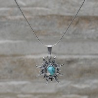 "Pendente ""sole luna"" con Turchese con collanina in argento 925"