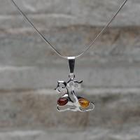 """Pendente """"Due gatti"""" in argento 925 con Ambra con colanina"""