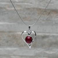 Pendente cuore in argento 925 con Corallo con colanina