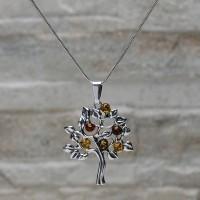 """Collana con pendente """"Albero della vita"""" in argento 925 con Ambra da Mar Baltico"""