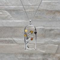 Collana con pendente in argento 925 con Ambra da Mar Baltico.