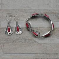 Completo orecchini e bracciale in argento 925 con Corallo