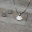 Completo orecchini e pendente zampa di gatto in argento 925