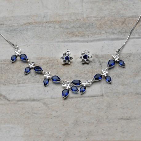 Completo ollana e orecchini in argento 925 con Zirconi color zaffiro