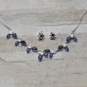 Completo collana e orecchini in Argento 925 con Zirconi - color zaffiro