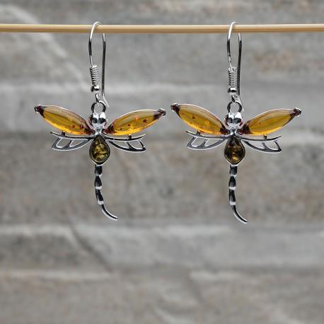 Orecchini farfalle argento 925 con Ambra da Mar Baltico