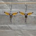 """Orecchini pendenti """"Farfalle"""" argento 925 con Ambra da Mar Baltico"""