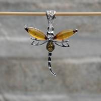 """Pendente """"Farfalla"""" argento 925 con Ambra da Mar Baltico"""