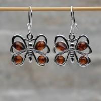 Orecchini pendenti farfalle argento 925 con Ambra da Mar Baltico