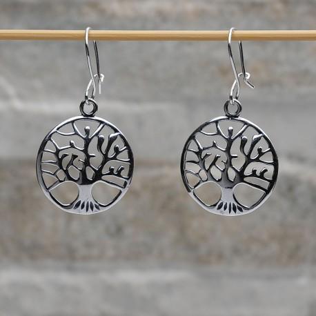 Orecchini pendenti argento 925 L'albero dela vita chiusura gancetto