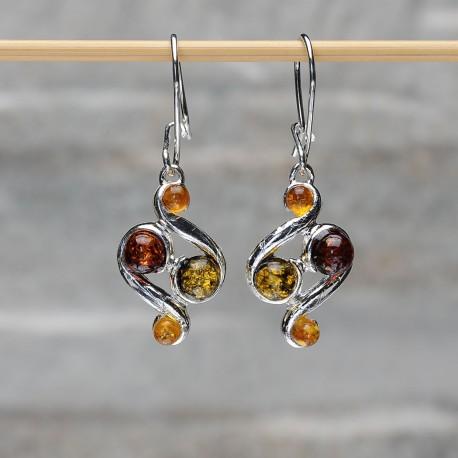 Orecchini in argento 925 con ambra da Mar Baltico