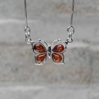 Collana con farfalla argento 925 con Ambra da Mar Baltico