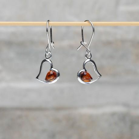 Orecchini in argento 925 cuore con ambra da Mar Baltico