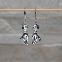 """Orecchini pendenti """"Gatto"""" in argento 925"""