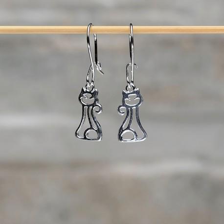 """Orecchini pendenti in argento 925 """"Gatto"""""""