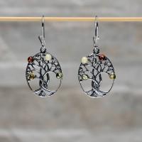Orecchini L'albero della vita in argento 925 con Ambra da Mar Baltico