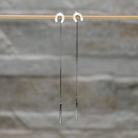 Orecchini lunghi con ferro di cavallo in argento 925