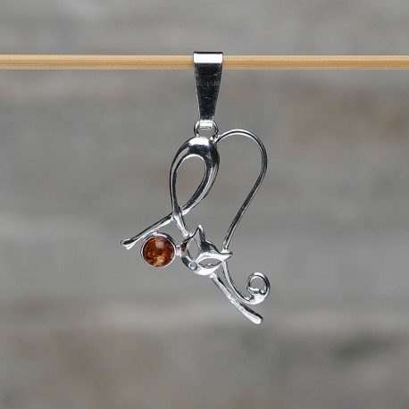 """Pendente """"Gatto Giocherellone"""" in argento 925 con la pallina in ambra"""