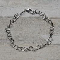 Bracciale in argento 925 con cuori