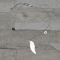 Bracciale in argento 925 con charms piuma