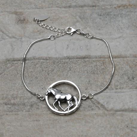 Bracciale con cavallo in argento 925
