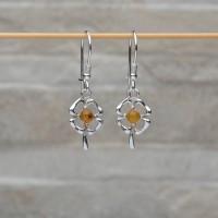 """Orecchini """"Fiore"""" in argento 925 con con Ambra da Mar Baltico"""