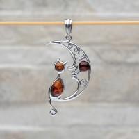 """Pendente """"Gatto sulla Luna"""" in argento 925 e ambra da Mar Baltico"""