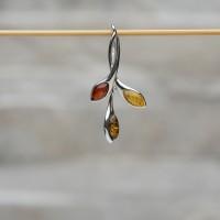 Pendente in argento 925 e ambra da Mar Baltico