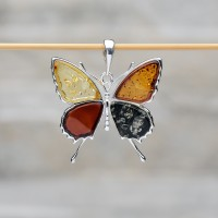 "Pendente ""Farfalla"" in argento 925 e ambra da Mar Baltico"