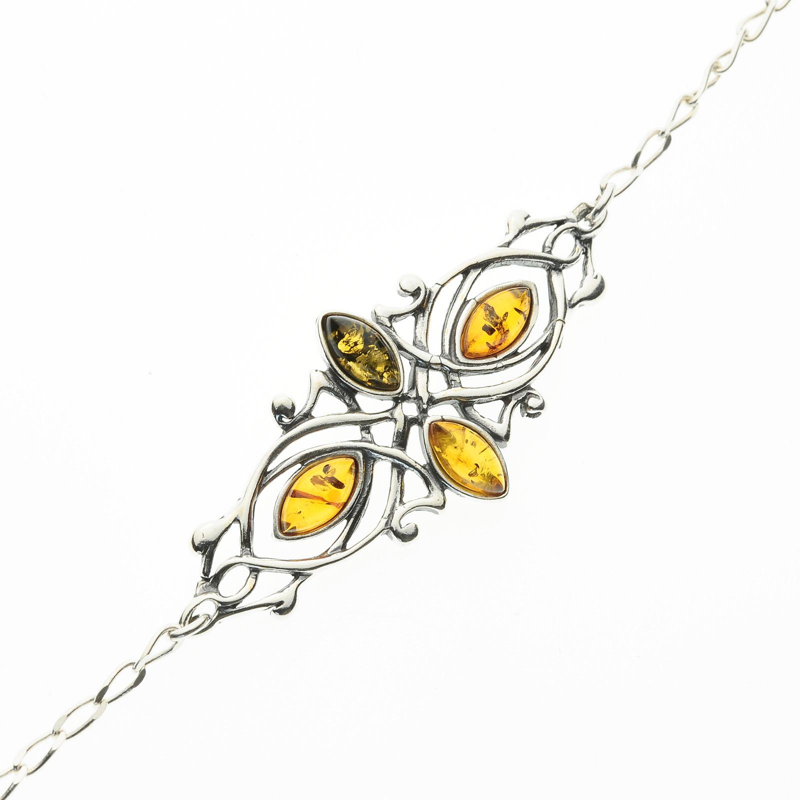 Bracciale donna argento 925 con ambra da mar baltico