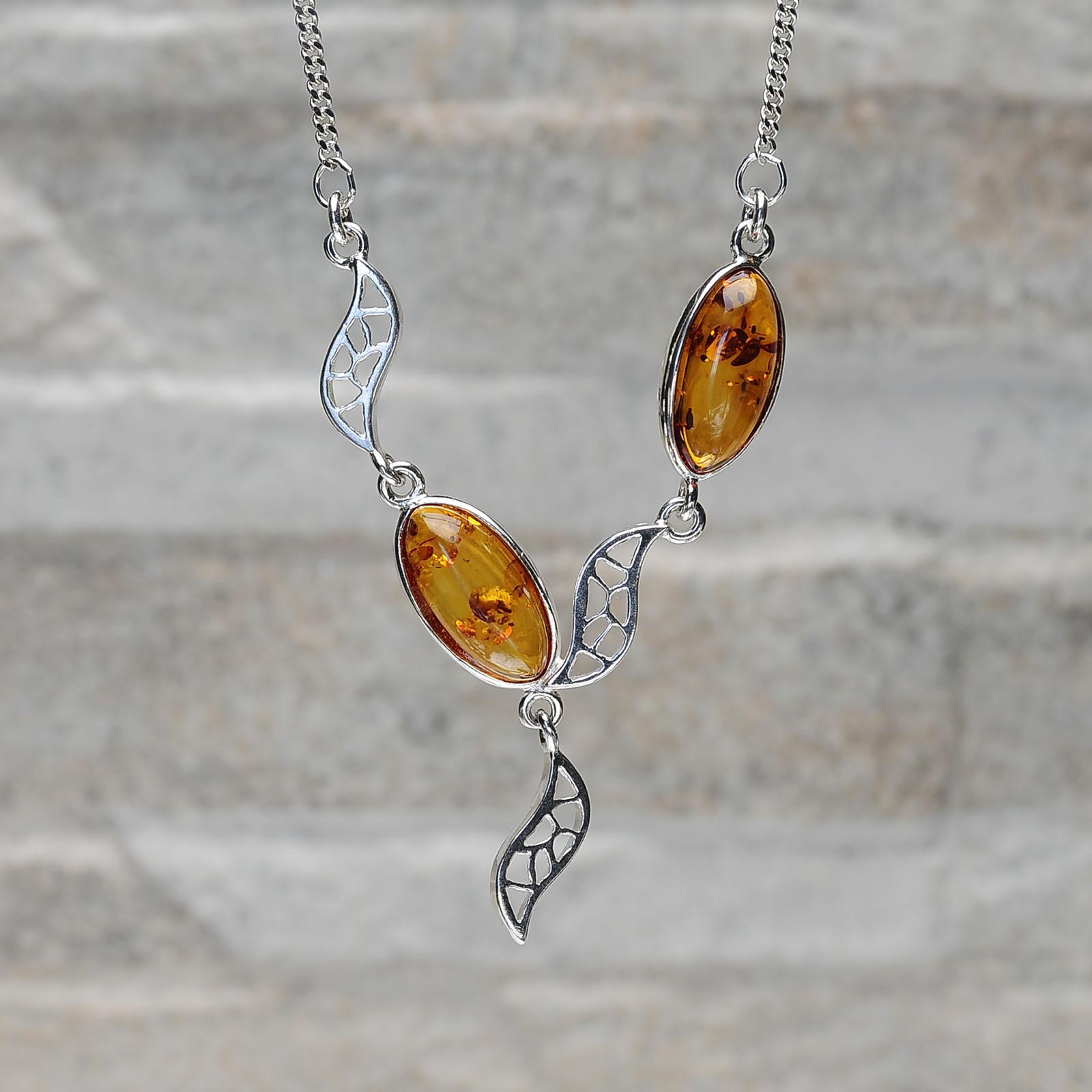 Collana argento 925 con ambra